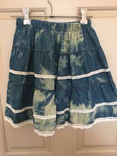 Blue and yellow mixed skirt free size