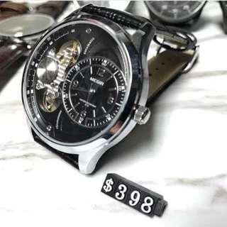 Meigir 鏤空機械芯石英皮錶