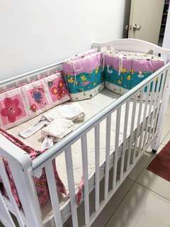 Baby cot with mattress, bumper & fitted