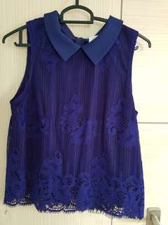 Lollyrouge size m navy blue lace top with scallop hem and back zip