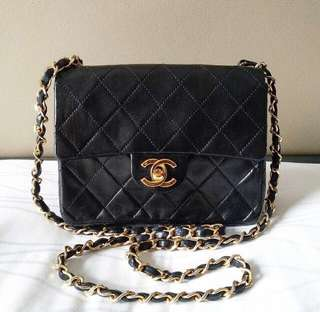 Authentic Chanel sling square mini flap lambskin gold hw