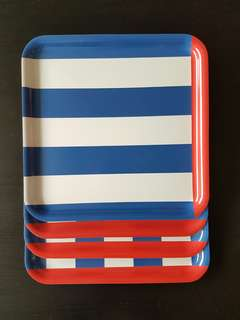 ❤IKEA 4 Serving Trays (Red & blue)