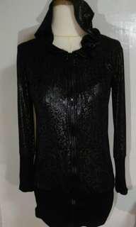 🚚 全新 豹紋 亮面皮 黑色 外套 連帽上衣 長袖 長版 new black jacket