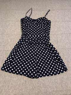 Forever New Navy Polka Dot Bustier Playsuit