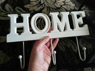 Wooden home sign hooks coat rack keys bags