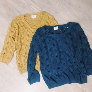 Urban outfitters pins and needles open knit crochet jumper sweater knitted top blue / mustard yellow 開洞慵懶針織線衫冷衫中袖毛衣 藍色/芥末黃色