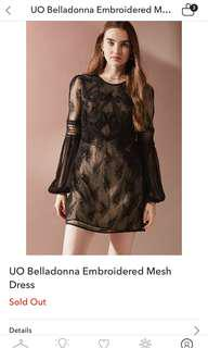 Urban outfitters belladonna embroidered black lace crochet tunic Dolly dress 長袖透視喱士圖騰繡花娃娃連身裙 #失戀旅行團