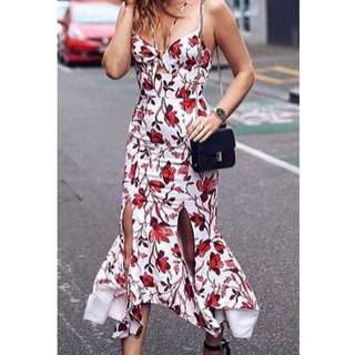 Sheike Red Floral Maxi Dress