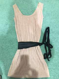 Beige dress with tie belt