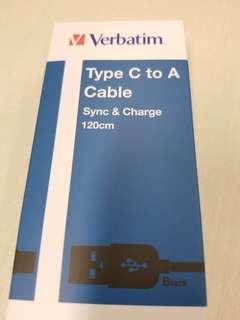 Verbatim Type C to A Cable 120cm