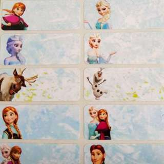 Frozen name stickers