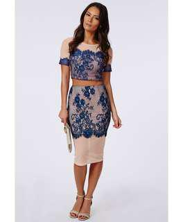Missguided Blue Lace Panel Mesh Crop Top Midi Skirt Co Ord Set UK 8