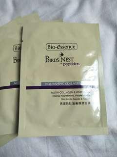 9x Bioessence Bird Nest Peptides Mask Collagen Nourishing Whitening