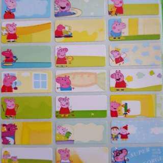 Peppa Pig medium name stickers