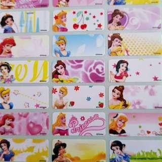 Disney princess medium name stickers