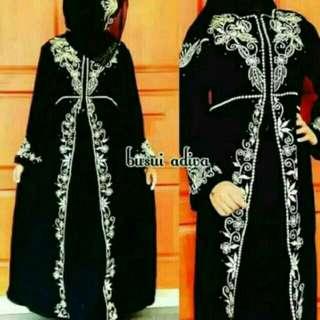 Abaya Saudi Bordir Adiva Free Pashmina Laris Gamis Modern