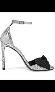 Saint Laurent Silver Bow Embellished Sandals