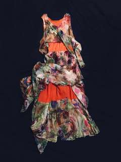💐Italian Silk Wildflower Gown - Enchanting Prato di Fiori Slip On Dress - Airy Ethereal Draping Long Floral Gown