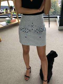 Monki Grey Diamante Skirt