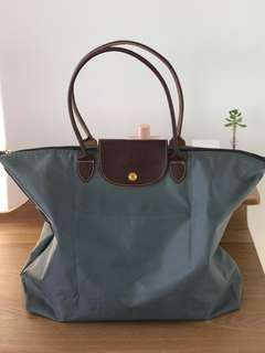 Longchamp Large Grey Carry / Tote Bag
