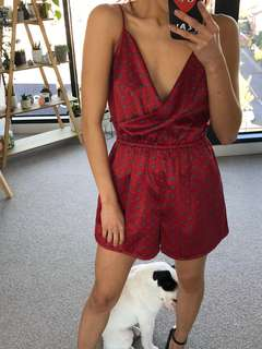 Sportsgirl Red Patterned Playsuit