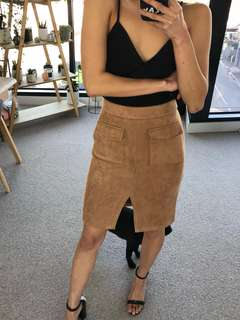 Sanfu Camel Suede Midi Skirt