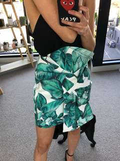 Cameo Collective White Green Palm Skirt