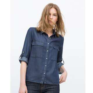 Zara TRF Button-down Double Pocket Shirt (Navy)