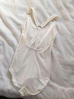 White ribbed glassons bodysuit