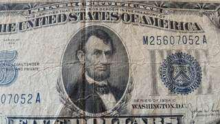 RARE silver certificate 5 Dollars USA