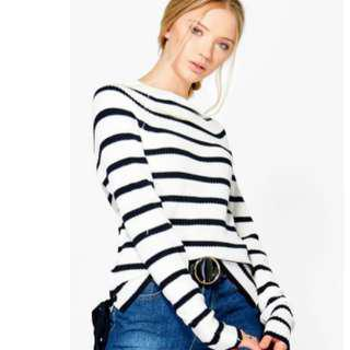 BooHoo Rosie Nautical Stripe Fisherman Jumper
