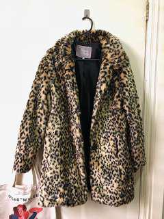 Leopard Faux Fur Jacket Coat