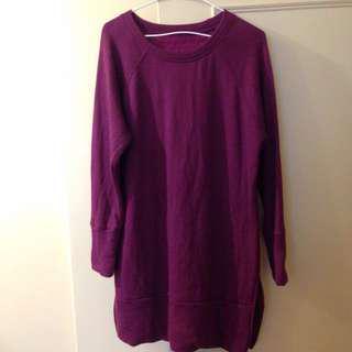 🚚 二手紫紅長版微刷毛上衣