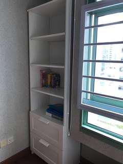 Bookcase, white, 60x190 cm