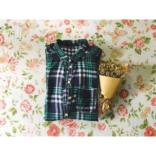 Zara Woman Green Plaid Shirt