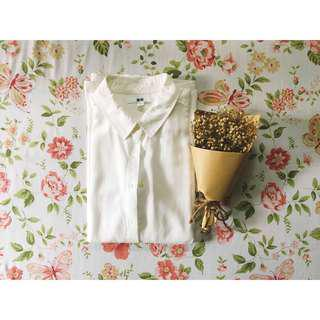 Uniqlo White Rayon Blouse