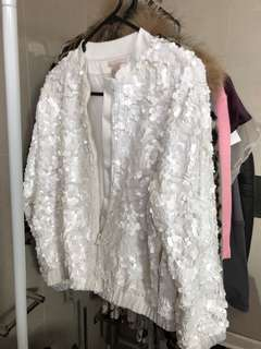 H&M sequin white jacket