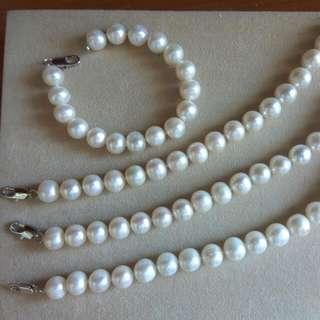 天然淡水珍珠手鍊10mm