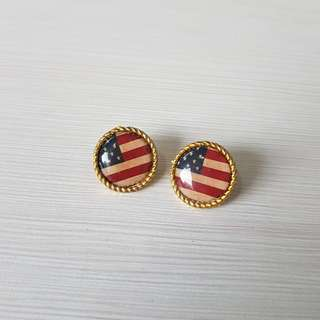 AMERICA FLAG EARRINGS (Aksesoris Anting Accessories Import Bangkok BKK Thailand)