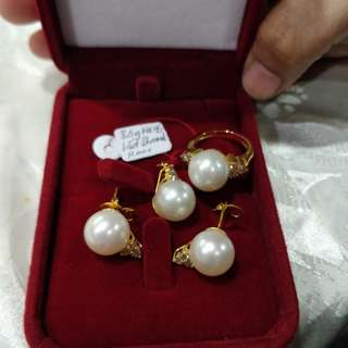 South Sea Pearl Jewelry Set with 14k Gold and Diamond Finish
