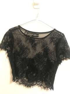 Black lace crop