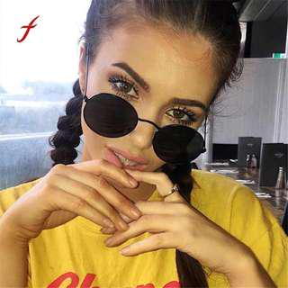 New Vintage Retro Oval sunglasses women 2018 Brand Designer Fashion Ellipse Metal Frame Glasses Trendy Fashion Shades sunglasses
