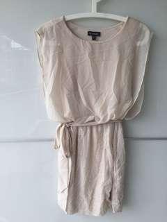 Bebe Beige chiffon dress