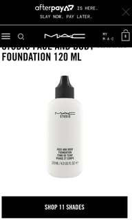 MAC Face & Body Foundation WHITE
