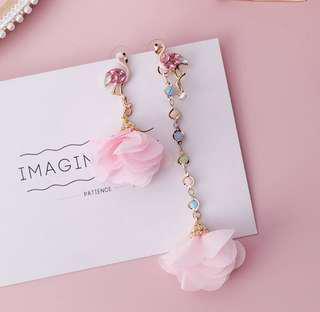 Pink flower tassel earring