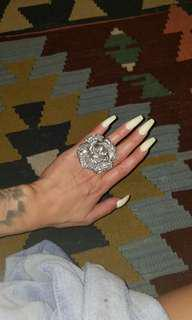 Women'ss OVERSIZED SILVER ROSE FLORAL RING