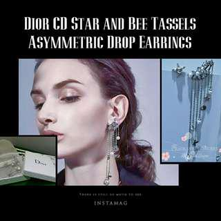 Dior Trendy CD Star and Bee Tassels Asymmetric Drop Earrings in Aged Palladium Finish Metal with Crystal Stars cluster