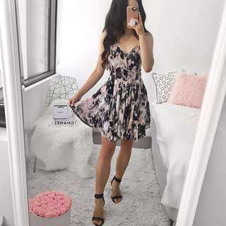 Black Pink Floral Print Romper