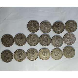 Lot of 16 Great Britain Silver Pre- and WWII Era Shilling Coins (1S) George VI 1920s 30s 40s