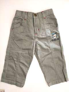 PRELOVED DISNEY BABY Kid's / Children's / Toddler's Mickey Air Khaki Green Cotton Long Pants For Boys - in excellent condition